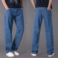 男士休闲宽松牛仔裤子直筒加肥加大码牛仔长裤胖人大号男装厚款
