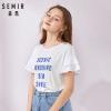 森马短袖T恤女2019夏季新款荷叶边袖甜美上衣套头圆领字母印花