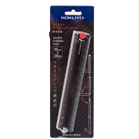 国誉(KOKUYO)CLUW30D折叠尺15cm展开30cm尺子 铝制直尺文具 黑色当当自营