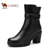 Camel 骆驼女靴 时尚休闲粗跟牛皮拉链女鞋 新款休闲女士靴子