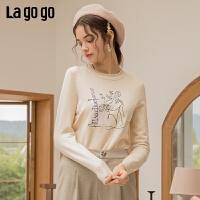 Lagogo/拉谷谷2019新款圆领撞色刺绣针织衫女ICMM41YA21