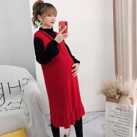中长款韩版洋气孕妇连衣裙孕妇装秋冬装上衣时尚灯笼袖孕妇毛衣
