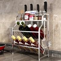 不锈钢厨房置物架壁挂式墙上免打孔调料架调味台面收纳用品架