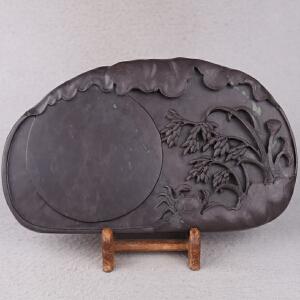 中国非物质文化遗产传承人群 钟景锐作品《五谷丰登》砚 斧柯东