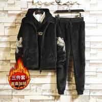 【加绒 更具保暖 触手可及的温度】金丝绒三件套韩版男士卫衣2018新款冬季套装休闲服外套