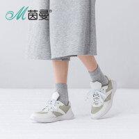 茵曼女鞋2016秋新款牛皮圆头平底单鞋系带休闲运动鞋