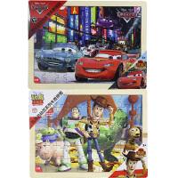 【当当自营】迪士尼拼图玩具 60片木质框式拼图二合一(赛车总动员36DF2484+玩具总动员36DF2487)