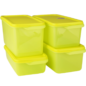特百惠新款保鲜盒 纤长层叠保鲜4件套塑料密封蔬菜水果储藏盒