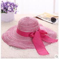 沙滩帽大沿帽可折叠帽子海边装备夏 女式太阳帽草帽大檐帽遮阳帽 可礼品卡支付