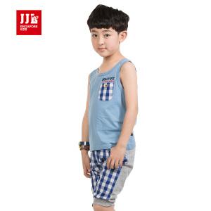 季季乐 童装男童夏装卡通休闲纯棉格子短袖套装BXZ53128