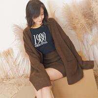 冬季韩版简约针织毛裙加厚纯色松紧腰半身裙短裙包臀裙女士一步裙 均码