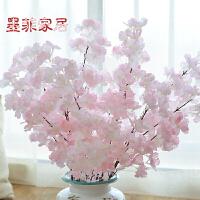 墨菲 客厅摆件樱花 欧式家居装饰品室内花瓶干花艺假花落地仿真花