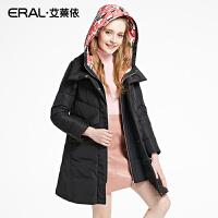 ERAL/艾莱依冬装时尚修身印花连帽假两件中长款羽绒服16063-EDAC