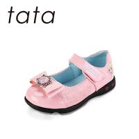 【159元任选2双】tata女童皮鞋演出鞋春秋小公主鞋儿童黑色单鞋冰雪奇缘小女孩灯鞋(2-8岁可选)W80755