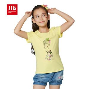 jjlkids季季乐童装女童休闲舒适清凉透气短袖T恤中大童夏季薄款