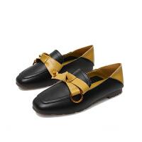 鞋子女两穿奶奶鞋平跟2019秋方头平底孕妇鞋软底蝴蝶结大码女单鞋