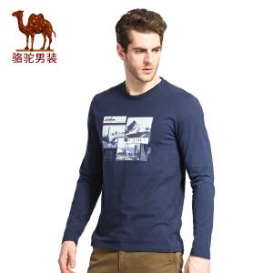 骆驼男装 春秋时尚圆领印花青年日常休闲长袖T恤衫男T