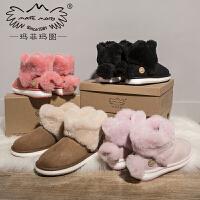 玛菲玛图皮毛一体雪地靴女短筒冬季2019新款可爱小短靴加厚保暖防滑冬靴子1855W