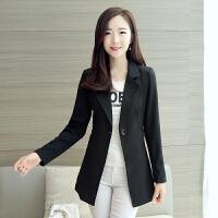 小西装女2017春秋新款长袖修身显瘦大码女士中长款外套韩版西服女 黑色 1618 M 90-100