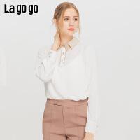 Lagogo/拉谷谷20*家新款女领口撞色褶皱设计雪纺衫ICSS55YC13