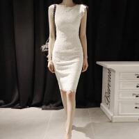 2018新款韩版修身蕾丝包臀无袖中长款显瘦打底白色连衣裙女潮 S 韩国正版