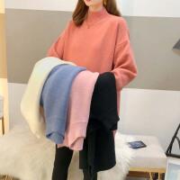 秋冬款高领毛衣中长款宽松加厚上衣孕妇冬装时尚打底针织衫套装