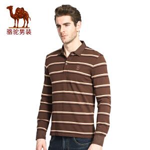 骆驼男装 时尚日常翻领条纹纯棉休闲长袖T恤衫男