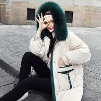 羽绒服女中长款2018冬装新款韩版显瘦时尚流行狐狸毛白鸭绒外套潮