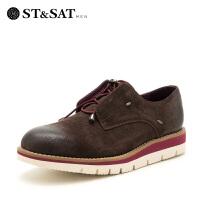 星期六男鞋(ST&SAT)牛皮耐磨系带时尚皮鞋休闲鞋 SS73129615