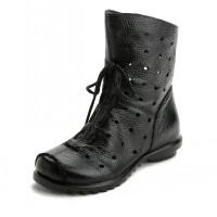 春秋复古民族风女靴妈妈鞋舒适透气短靴低跟大码镂空单靴