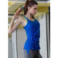 防震速干衣女显瘦性感健身服 瑜伽背心女长款带胸垫聚拢运动
