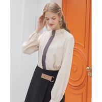 Lagogo2019秋季新款立领纯色雪纺衫米色长袖气质上衣女ICSS558C03