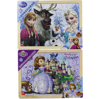 【当当自营】迪士尼拼图玩具 60片木质框式拼图二合一(冰雪奇缘36DF2485+苏菲亚小公主36DF2486)