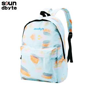 【支持礼品卡支付】soundbyte新款双肩包女潮流蓝色水彩学生书包休闲女包时尚背包