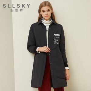熙世界黑色刺绣羽绒服女中长款2018秋冬新款加厚长袖外套11DLY026