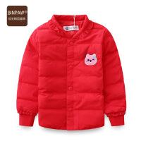 【99元2件】binpaw童装女童羽绒服冬装韩版女收腰双层内里不跑毛短款外套上衣