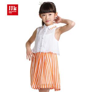 季季乐童装女童夏季短袖连衣裙中大童竖条纹雪纺短裙GXQ52167