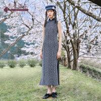 生活在左2019秋季女装新品无袖毛织提花旗袍中国风改良版连衣裙