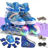 户外新款轮滑鞋透气儿童男溜冰鞋可调闪光女滑冰鞋全套装时尚简约
