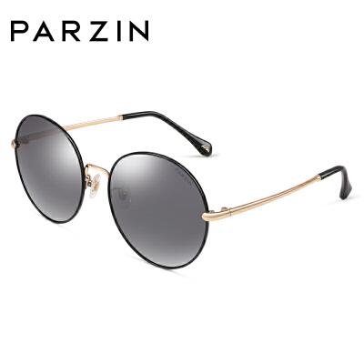 帕森2018新品 时尚偏光太阳镜女 金属幼圆框炫彩膜潮墨镜8176