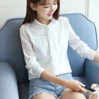 衬衫 女士翻领单色白衬衣职业装春夏季韩版新款女式时尚修身百搭显瘦长袖学生纯色打底衫