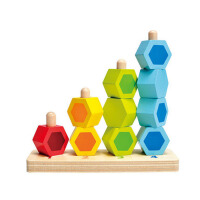 数字堆堆乐木制积木穿珠子儿童玩具1-2岁 宝宝智力串珠