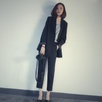 休闲西装套装女2018春季新款时尚气质西服外套韩版显瘦两件套 黑色