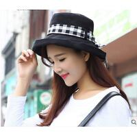 太阳帽 遮阳帽子女可折叠夏天户外防晒帽防紫外线女士棉麻帽 盆帽