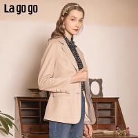 Lagogo/拉谷谷2020新款可脱卸腰带短外套女JAWW531A69