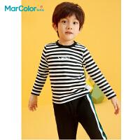 马卡乐童装2021春季新款男童全棉烫印设计休闲长袖圆领T恤