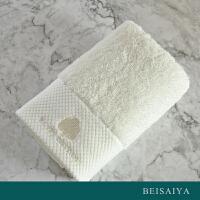 【任选3件4折,2件5折】贝赛亚 进口埃及长绒棉钻石缎边 绣花面巾 漂白色 35x75