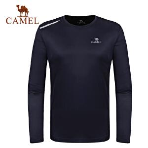 【1件3折 到手价:58】camel骆驼情侣款运动T恤 男女款跑步健身速干圆领长袖T恤