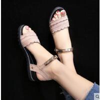 平底凉鞋女百搭潮款韩版时尚水钻一字扣带罗马女士中跟凉鞋