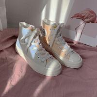 高帮紫外线变色帆布鞋女学生韩版百搭2019秋季女鞋子布鞋秋鞋 白色